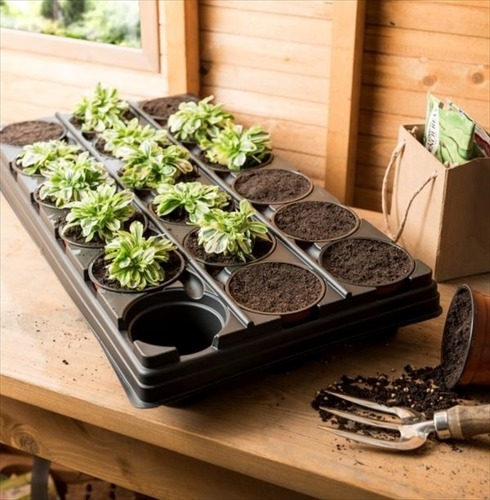 18 Pot Growing Tray - Durable Plastic Pots in Carrying Tray