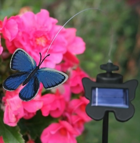 Solar Powered Flutterby Butterfly - Realistic Fluttering Motion - Blue