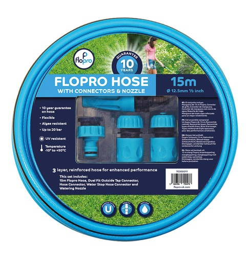 Flopro 100 Hose Pipe 15m with Connectors & Nozzle - 12.5mm