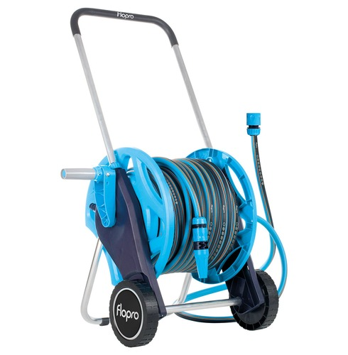 Flopro+ Hose with Cart System 30m - Complete with Connectors and Watering Nozzle