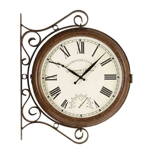 Greenwich Station Double Sided Clock & Thermometer