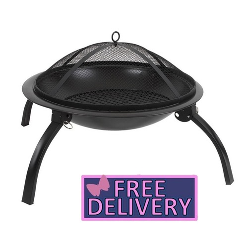 Metal Fire Pit 57cm with Folding Legs - Portable - Charles Bentley