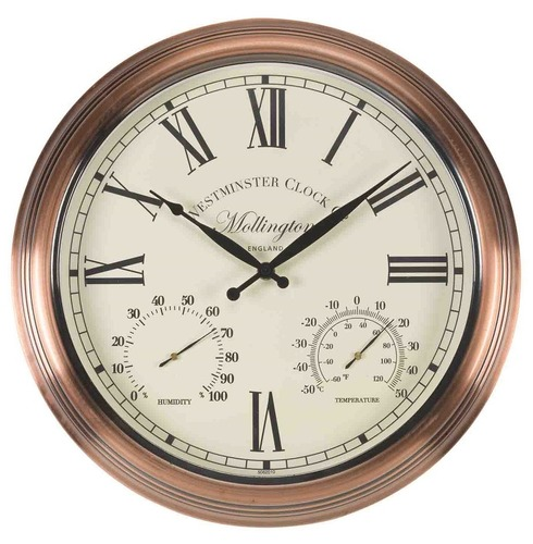 Mollington Inside or Outside Garden Clock and Thermometer 15""