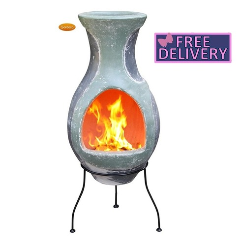 Water Four Elements Clay Chimenea With Stand - Option Small, Medium or Large