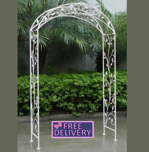 Metal Garden Arch - Wrought Iron - Shabby Chic White - Charles Bentley