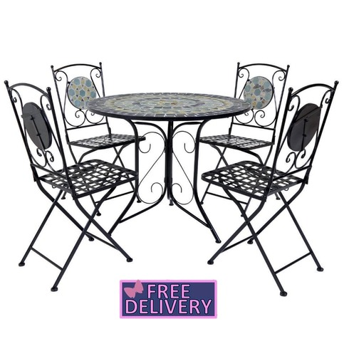 Garden Blue Mosaic 5 Piece Dining Set Table and 4 Chair - Charles Bentley