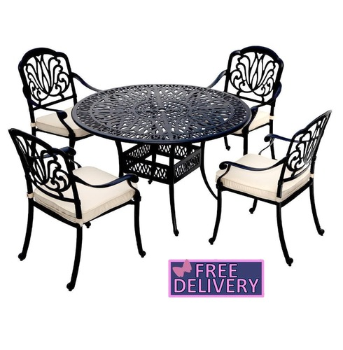 Cast Aluminium 4 Seater Garden Dining Set - Charles Bentley