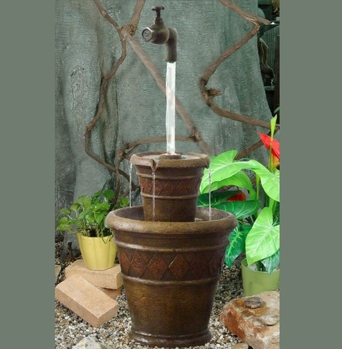 Mystic Floating Tap on Two Pots Solar Power Water Feature
