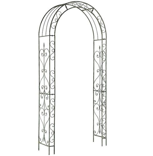 Loire Metal Garden Rose Arch - White \ Grey Wash Finish