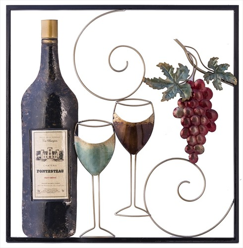 Metal Garden Wall Art Wine Bottle - Fountasia