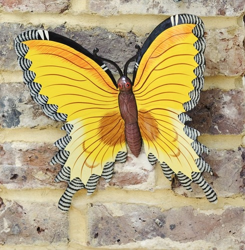 Yellow Wall Butterfly Garden Wall Art Large  - Fountasia