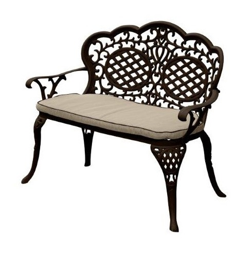 Ballygowan Mississippi Aluminium 'Love' Bronze Seat Bench - With Seat Pad
