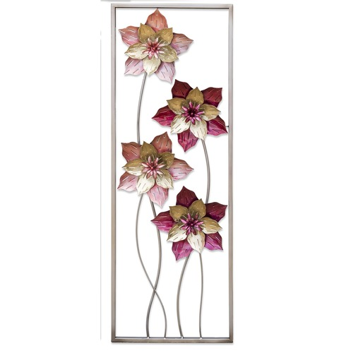 Metal Garden Wall Art Pink Flowers - Fountasia