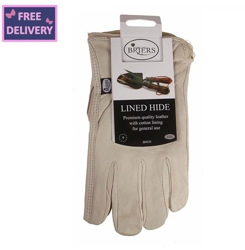 Lined Hide Leather Gloves - Medium or Large - Briers