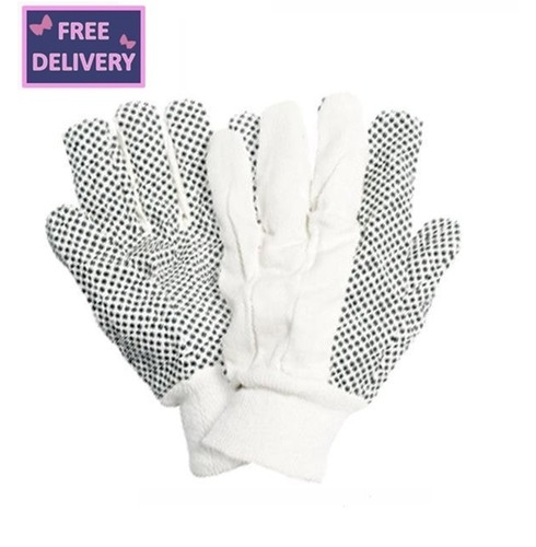 Cotton Drill with PVC Dots Gardening Gloves - Large - Briers