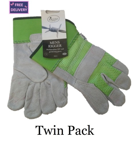Mens Rigger Multipurpose Gardening & DIY Gloves - Twin Pack - Large - Green