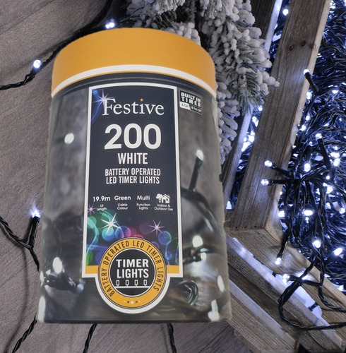 Festive 200 Battery Operated Christmas String Lights - Cool White