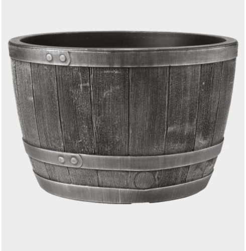 Blenheim Half Barrel Planter Pot - Pewter Effect - 40cm