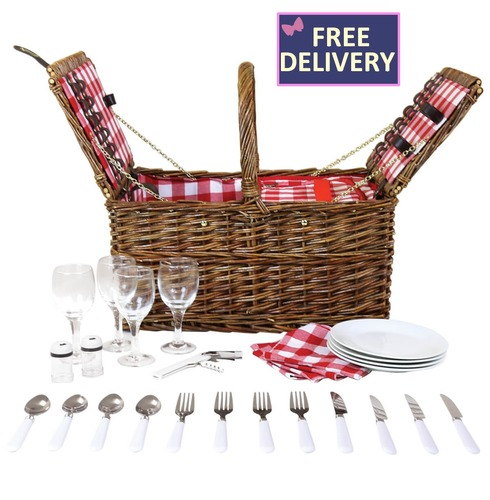 Unpeeled Willow Wicker Picnic Basket Hamper Set for Four