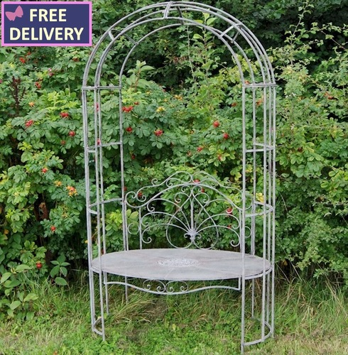 Oval Arbour Arch with Seat - Aged Anitque Grey