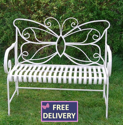 Butterfly Metal Garden Bench - Classic Cream