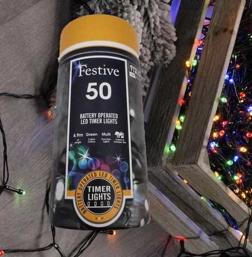 Festive 50 Battery Operated Christmas String Lights - Multi-Coloured