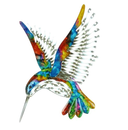 Colourful Hand Painted Metal Hummingbird Wall Art