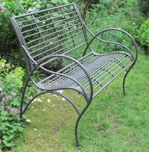 Amalfi Metal Garden Bench - Umbra Grey