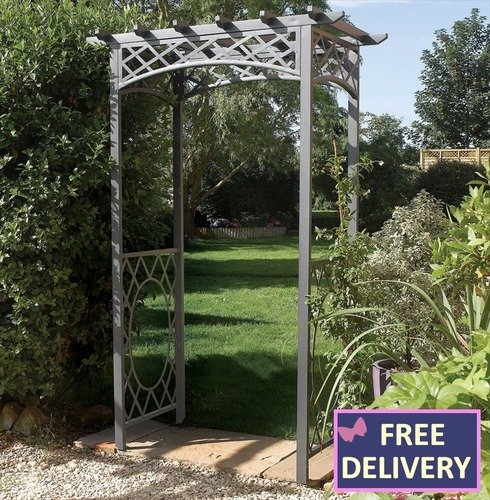 Wrenbury Metal Garden Arch - Flat Top Pergola Style Archway