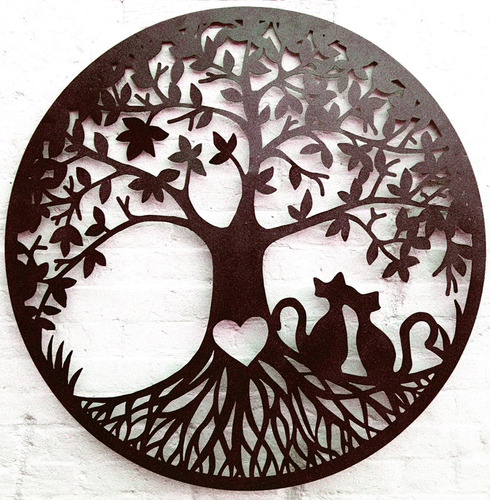 Large Love Cats Tree of Life Round Metal Wall Art