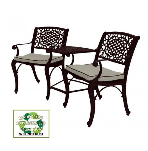 Ballygowan Mississippi Metal Garden Aluminium Bronze Companion Seat - With Seat Pads