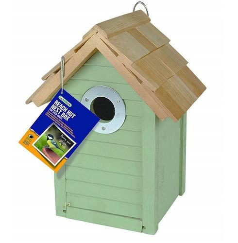 Beach Hut Nest Bird Box in Green