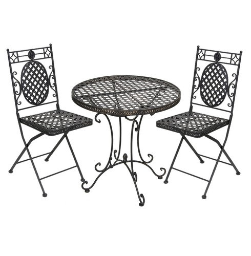 Cafe Bistro Set - Black with Gold Wash - French Lattice Design