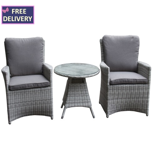 Burnham XL Round 2 Seater Rattan Weave Set - Textured Grey