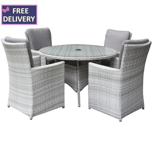 Burnham XL Round 4 Seater Rattan Weave Set - Textured Grey