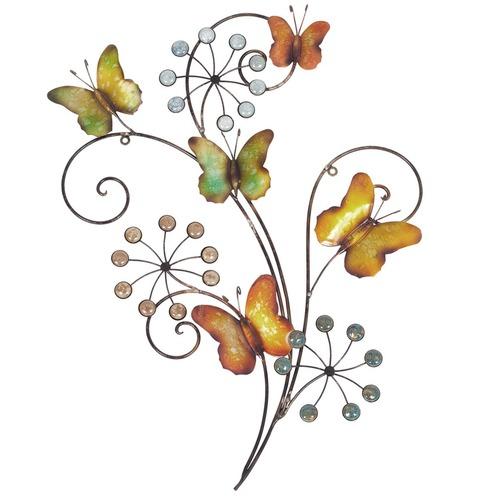 Butterflies and Flowers Metal Wall Art