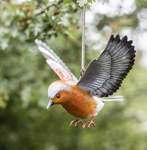 Hanging 3d Metal Chaffinch in Flight - La Hacienda