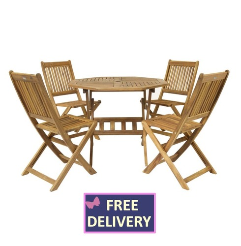 Garden Wooden Furniture Set - Wood 4 Seater - Charles Bentley