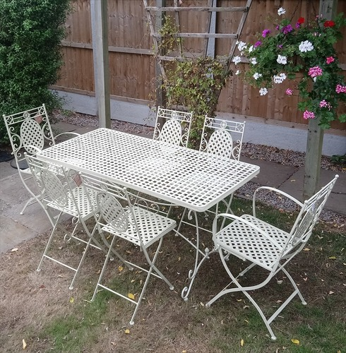Cafe Cream 6 Seater Metal Garden Furniture Set - Distressed Cream