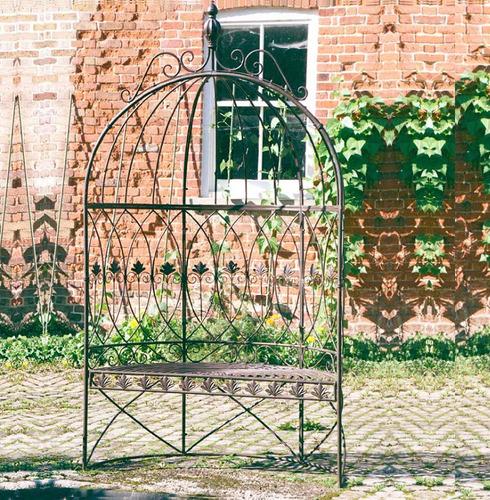 Leaf Scrolled Domed Metal Garden Arbour Seat