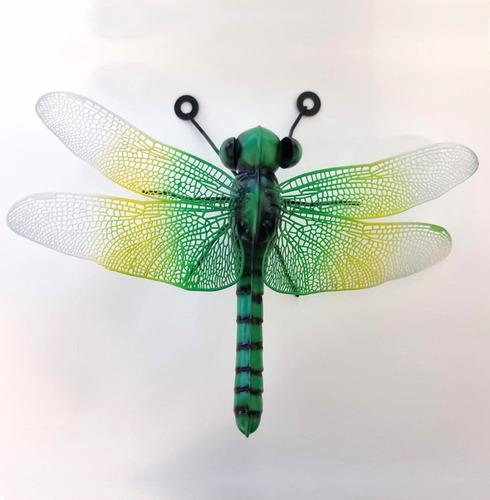 Metal Dragonfly Wall Art - Green