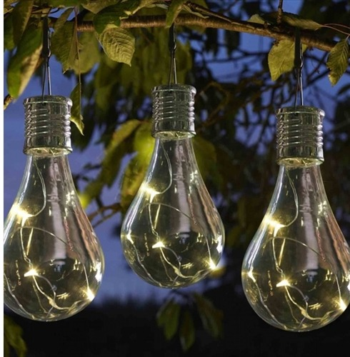 Large Eureka Alpha Garden Glass Light Bulb - Solar Powered - 4 Pack