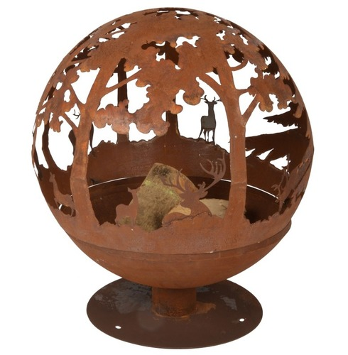Fire Ball Globe Cast Iron - Laser Cut Woodland Scene Design