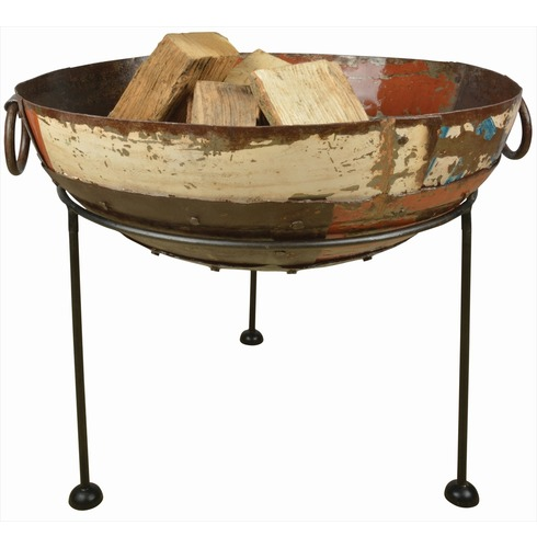 Recycled Reclaimed Metal Fire Bowl - Natural Finish