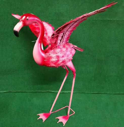 Metal Flamingo With Outstretched Wings Ornament