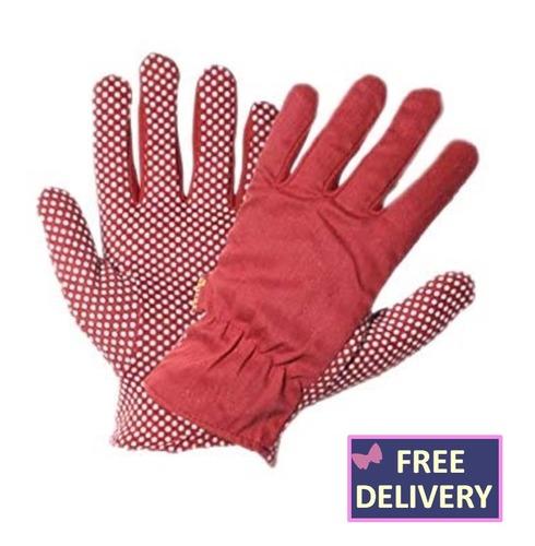 Flexigrip Gardening Gloves - Jersey Dot - Red - Medium or Small