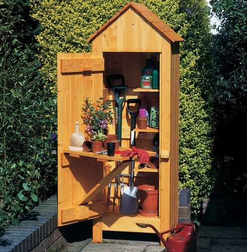 Garden Wooden Tool Shed Storage - Natural