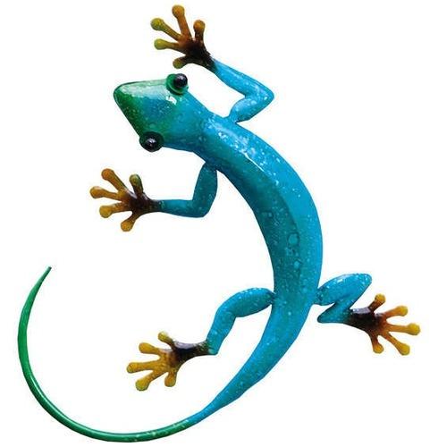 Gecko Azure Metal Wall Art - Hand Painted
