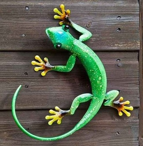 Gecko Emerald Metal Wall Art - Hand Painted