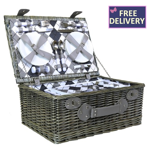 Grey Wicker 4 Person Picnic Basket Set - Checked Lining